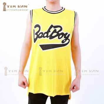 TIM VAN STEENBERGE Notorious B.I.G. Biggie Smalls 72 Bad Boy Basketball Jersey Doule Stitched Sewn-Yellow