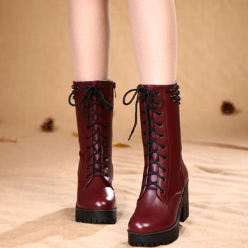 Tie Up Thick Soled Studs Skidproof Wine Red Platform Sexy Women Biker Boots 2015 Winter Fashion Quality Genuine Leather