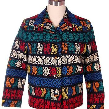 Vintage Coat Ethnic  Woven  Holt Renfrew Colorful  1960s 38 Bust