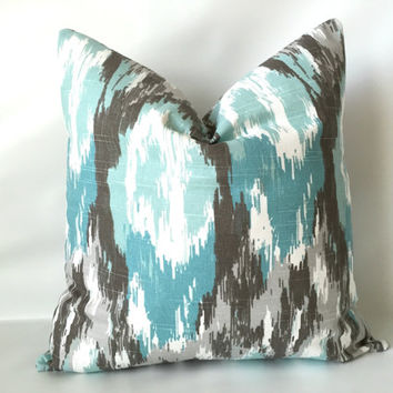 Aqua Taupe Pillow Cover 18 X One Watercolor Blue Brown