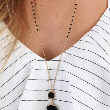 Just A Drop Necklace: Black/Gold