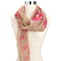 Lightweight Skull Print Square Scarf: Charlotte Russe