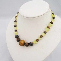 Tigers Eye and Jade Necklace, Butterfly Necklace, Brown and Olive Green Necklace