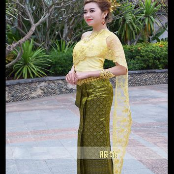 Dai princess dress women's traditional Thai shoulder veil slim Thai Princess Traditional costume