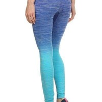Get Your Zen on Ombre Leggings- Ocean Blue