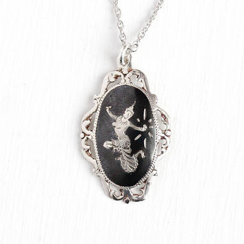 Vintage Siam Necklace - 1940s Era Sterling Silver Lavalier Pendant - Mekkala Goddess Of Lightning Dark Niello Ramakien Thai Jewelry
