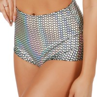 Silver Holographic Pyramids High-Waist Booty Shorts
