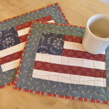 Memorial Day Quilted Mug Rugs - Americana Patriotic 4th of July - Set of 2