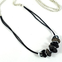 Ceramic and Metal Necklace - Beaded - Organic - Smoky Black Jewelry in Handmade Felt Envelope by Dawn Whitehand on Etsy