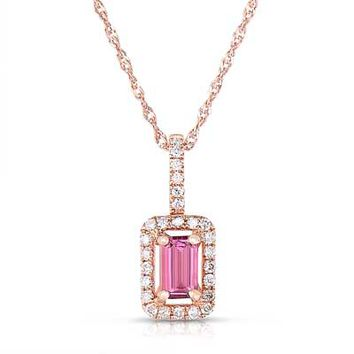 Emerald-Cut Pink Tourmaline and 1/10 CT. T.W. Diamond Frame Pendant in 14K Rose Gold