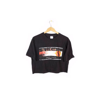 RUSH crop top Vapor Trails Tour shirt - cropped fit black band tee - medium