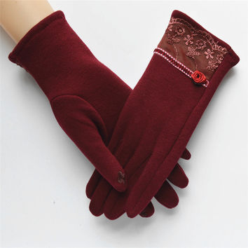 2016 New Arrival Women Touch Screen Gloves Fashion Solid Color Lace Ladies Winter Outdoor  Warm Cotton Gloves