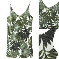 Green Tropical Print Cami Mini Dress