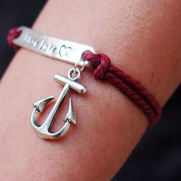 Antique Silver Bracelet, Memory bracelet, Custom bracelet, words bracelet, Anchor bracelet Personalized engraved bracelet, Couples bracelet