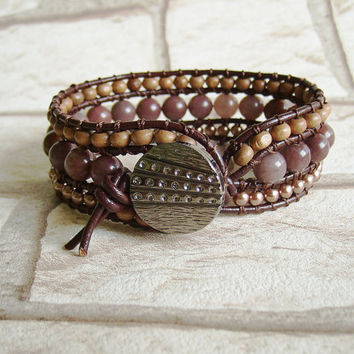 Western Bracelet Bohemian Jewelry Brown Beaded Bracelet Brown Wrap Bracelet Boho Jewelry Leather Jewelry Rustic Hippie Jewelry Mothers Day
