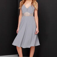 From Sheer to There Grey Lace Midi Dress