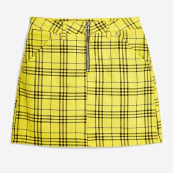 Checked Denim High Waisted Skirt | Topshop