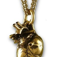 "Gothic 3d Human Heart Antique Gold Tone Necklace 32"" Chain"