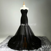 y A-line Long Sweetheart Black Wedding Dresses With Lace Sleeveless Sequins Sweep Train Formal Zip Back Dress Alternative Measures - Brides & Bridesmaids - Wedding, Bridal, Prom, Formal Gown