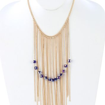 Blue Long Chain Fringe Bib Iridescent Glass Bead Charm Necklace