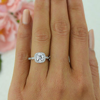 1.25 ctw Halo Ring, Wedding Ring, Vintage Style Ring, Man Made Diamond Simulants, Art Deco Halo Ring, Round Engagement Ring, Sterling Silver