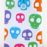 Skull IPad Mini case, tablet cover sleeve bright skull fabric for Ipad Mini girly gift for teen uk seller