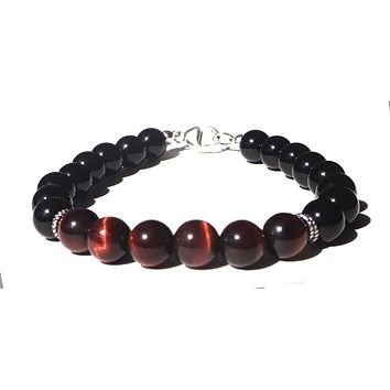 Mens CONFIDENT DECISIONS Root Chakra Bracelet w/ Red Tiger Eye