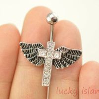 belly rings,belly button jewelry,cross belly button rings,angel wings navel ring,piercing belly ring,cross body piercing bellyring,BFF gift