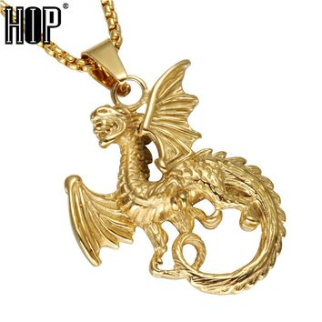 HIP Game Of Thrones Targaryen Dragon Pendants Necklace Gold Color 316L Stainless Steel Casting Necklace For Men Jewelry