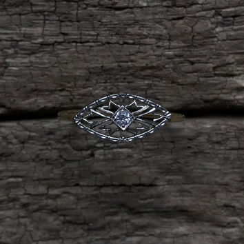 Antique conversion ring - Marquise filigree - White and Yellow Gold with old mine cut diamond - Ready to ship