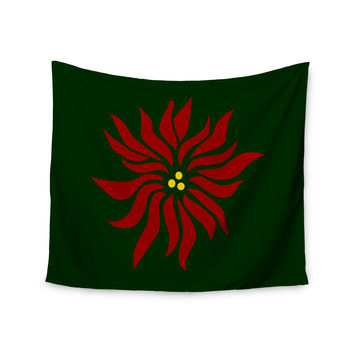 "NL Designs ""Poinsettia"" Green Maroon Wall Tapestry"