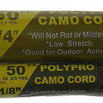 "Set 2 TW Evans Cordage Polypro Camo Cord Rope Camouflage 50' 1/4"" 1/8"" Camping"