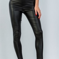 Faux Leather Look Black Leggings