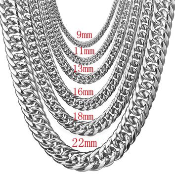 Polishing Silver Color Stainless Steel 7-40 Inches Option Men's 7/9/11/13/16/18/22mm Wide Curb Cuban Chain Necklace Or Bracelet