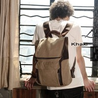 Tough leather canvas crusier rucksack for men by Distressed backpack & messenger bag