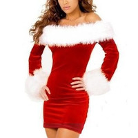 Sweet Christmas girl clothes Lovely white hair leaders mouth Long Skinny Knee-length dress package hip