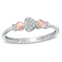 Diamond Accent Hearts Ring in Sterling Silver and 10K Rose Gold - Size 7