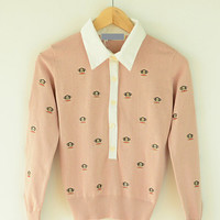 Paul Frank Print Pointed Flat Collar Long Sleeve Knit Cardigan