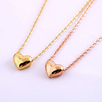Popular joker tiny peach heart necklace delicate necklace clavicle necklace 14k thick gold plated bridesmaids brides party gift best friend