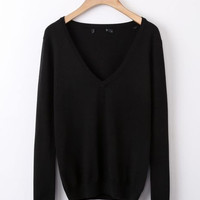 Black V-Neckline Knitted Sweater