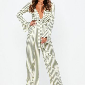 Missguided - Tall Green Stripe Wide Leg Pants