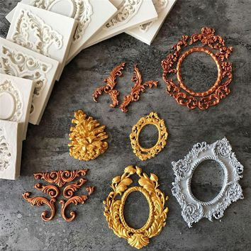 European Pastry Antique Mirror Frame Fondant Cake Mold Silicone Mould Border Embossing Home&Kitchen Pastry Tool