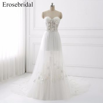 Sexy Illusion Wedding Dress 2018 Erosebridal A Line Bohemian Wedding Dresses Zipper Back Elegant Sweetheart Vestido De Noiva