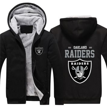 NFL American football Men's winter casual jacket Warm thicken hoodies Oakland Raiders