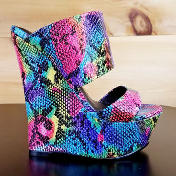 "Pacs Rainbow Snake Double Strap Slip On Wedge Shoes - 6"" Heels"
