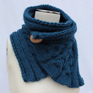 Blue Buttoned Scarf, Chunky Neck Warmer, Blue Hand Knitted Cowl, Chunky Buttoned Cowl, Blue Cable Scarf, Blue Knit Scarf, Blue Knit Cowl