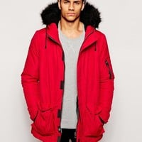 Bellfield | Bellfield Arctic Parka With Faux Fur Hood at ASOS