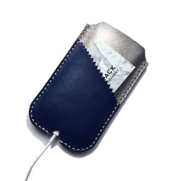 Leather Phone Sleeve, Silver iPhone Cover, Navy Samsung Galaxy Case, Card Pocket, Handmade Leather Accessories, Metallic, Blue iPhone Sleeve