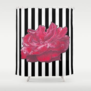 Red Rose on Stripes Shower Curtain by drawingsbylam
