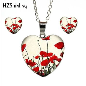 HZShinling HES-031 Red Poppy Heart Necklace Field Of Poppies Flower Set Art Glass Dome Jewelry Heart Shaped Pendant Necklace